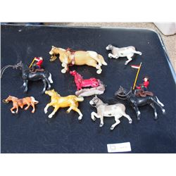 8 Horse Figures and 2 RCMP Figures