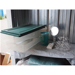 Rubber Maid Totes with Lids, Mirror, Carbon Monoxide Alarm and misc