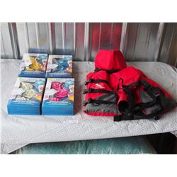 Sterns Child Life Jacket (30-60LBS) and water activated floating sensations floating lights