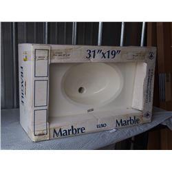 """Uninstalled Marble Top Sink 31"""" X 19"""""""