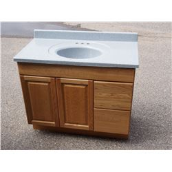 Sink with Marble Top and Wooden Cabinet *top is removable