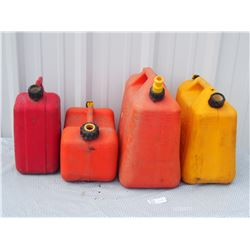 3 Plastic Gas Cans and 1 Diesel Can
