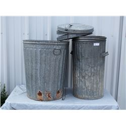 2 Garbage Cans with 3 non-matching Lids