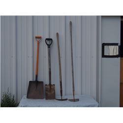 2 Shovels and 2 Garden Hoes