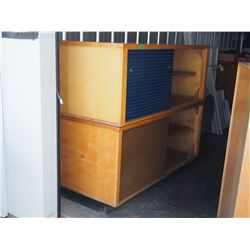 2 Piece Wooden Cabinet with Sliding Front Doors