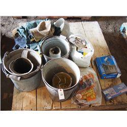 Lot of Tools, Apron, Galvanized Pails, Coveralls, Etc