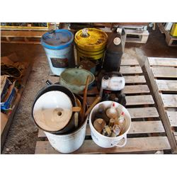Oils, Funnels, Some Hydraulic Oil, Etc