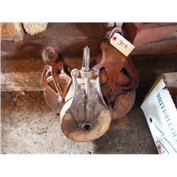 3 Wooden Pulleys