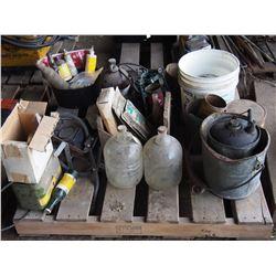 Vintage Related Pallet- License Plates, Tins, Bottles