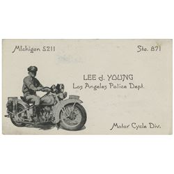 Howard Hughes personal police courtesy card from L.A.P.D. Motor Cycle Div. officer Lee J. Young.
