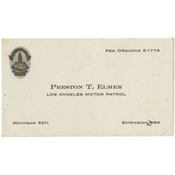 Howard Hughes personal police courtesy card from Los Angeles Motor Pool officer Preston T. Elmer.