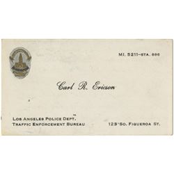 Howard Hughes personal police courtesy card from LAPD Traffic Enforcement officer Carl L. Ericson.
