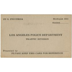 Howard Hughes personal police courtesy card from LAPD Traffic Division officer K. Kane.