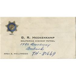 Howard Hughes personal (3) business cards from police contacts.