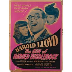 Howard Hughes personal silk-screen poster for The Sin of Harold Diddlebock.