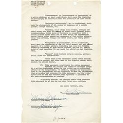 John Wayne RKO Radio Pictures employment contract signed both 'John Wayne' and 'Marion M. Morrison'