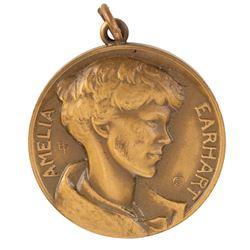 Howard Hughes personal Amelia Earhart medal presented by aviator Viola Gentry & artist Buranelli.