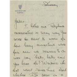 Howard Hughes (4) personal handwritten love letters from Joan Fontaine.