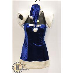 WOMENS ADULT ROYAL BLUE INTIMATE SANTA 3PC COSTUME