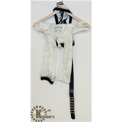 PEECABOO 5PC WOMENS INTIMATE COSTUME; WHITE LACE
