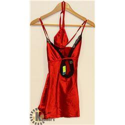 PEECABOO 2PC WOMENS METALLIC RED & BLACK LACE
