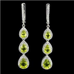 Natural Untreated Pear Green Peridot Earrings