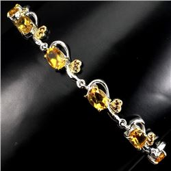 Natural Oval Yellow Citrine Garnet 64 Carats Bracelet