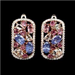 Natural Top Rich Pink Tourmaline & Tanzanite Earrings