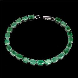 Natural Unheated Oval Zambian Emerald Bracelet