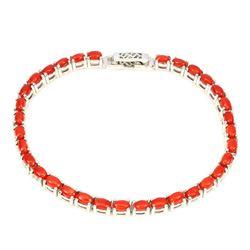 Natural Oval Orange Italian Coral Bracelet