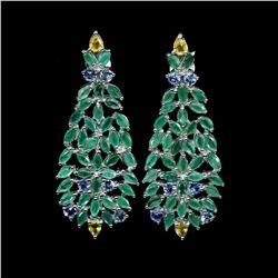 Natural Emerald Sapphire Tanzanite Earrings