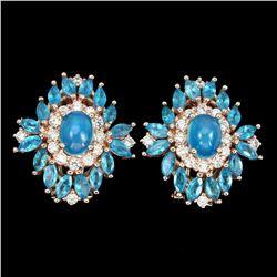 Natural Blue Opal & Brazil Blue Apatite Earrings