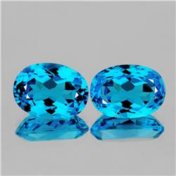 Natural Baby Swiss Blue Topaz Pair 13.55 Cts - VVS