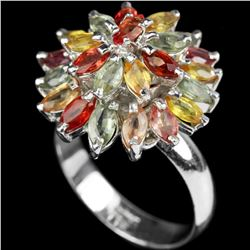 Natural Multi Color Fancy Sapphire 6.24 Cts Ring