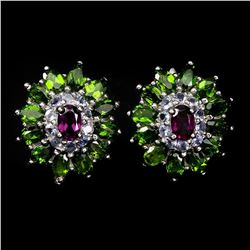 Natural  Rhodolite Garnet Chrome Diopside Tanzanite
