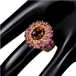 Natural Imperial Topaz, Rhodolite Garnet & Ruby Ring
