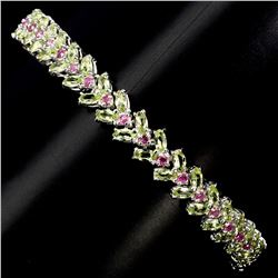 Natural Ruby &  Green Peridot 74.49 Cts Bracelet
