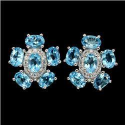 Natural  Swiss Blue Topaz 6x4mm Earrings