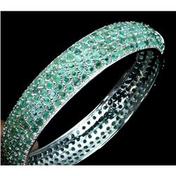 Natural Untreated Colombian Emerald Bangle