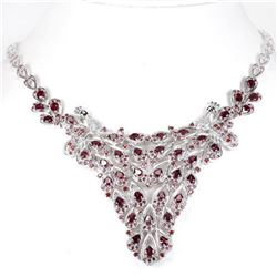 NATURAL PURPLISH PINK RHODOLITE Garnet Necklace