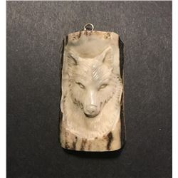 Hand Carved Antler Wolf Pendant