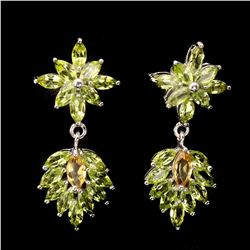 Natural Top Green Peridot & Citrine 58 Carats Earrings