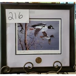 "Ducks Unlimited 2009 ""Eyes on the Willows"" by Dick Benson Framed 17""w x 16""h"