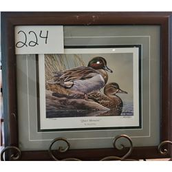 "Ducks Unlimited 1427/1500 ""Quiet Moment"" by Harold Roe Framed 17 1/2""w x 15 1/2""h"