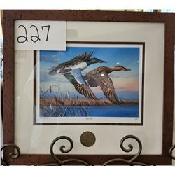 "Ducks Unlimited 451/2000 ""High Water"" by Mike Brown Framed 16""w x 15""h"