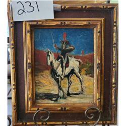 "Soldier on Horse Back Framed 14""w x 16""h"