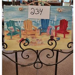 """Beach Chairs and Sailboats on pressed board 16""""w x 10 1/2""""h"""