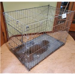 "Used Wire Dog Crate with Tray - approx 47d x 27""w x 36""h"