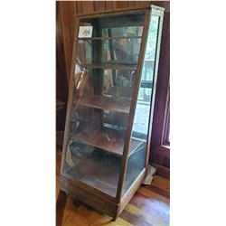 "Antique Oak General Store Display with mirror back - 5 shelves 24""w x 58""h x 23 1/2"" base depth to 9"