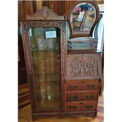 Antique Oak Beautiful Drop Front  Secretary